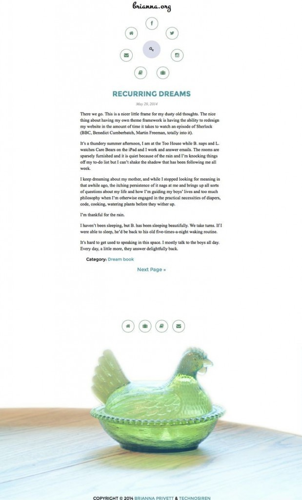 "My favorite tradition is to redesign my personal site in two hours or less using modern techniques and tools I've created throughout my career. I call this responsive WordPress theme ""Artifact"". It is a beautifully simple medium-to-longform reading experience on any device or screen, with a simple radial menu for navigation."